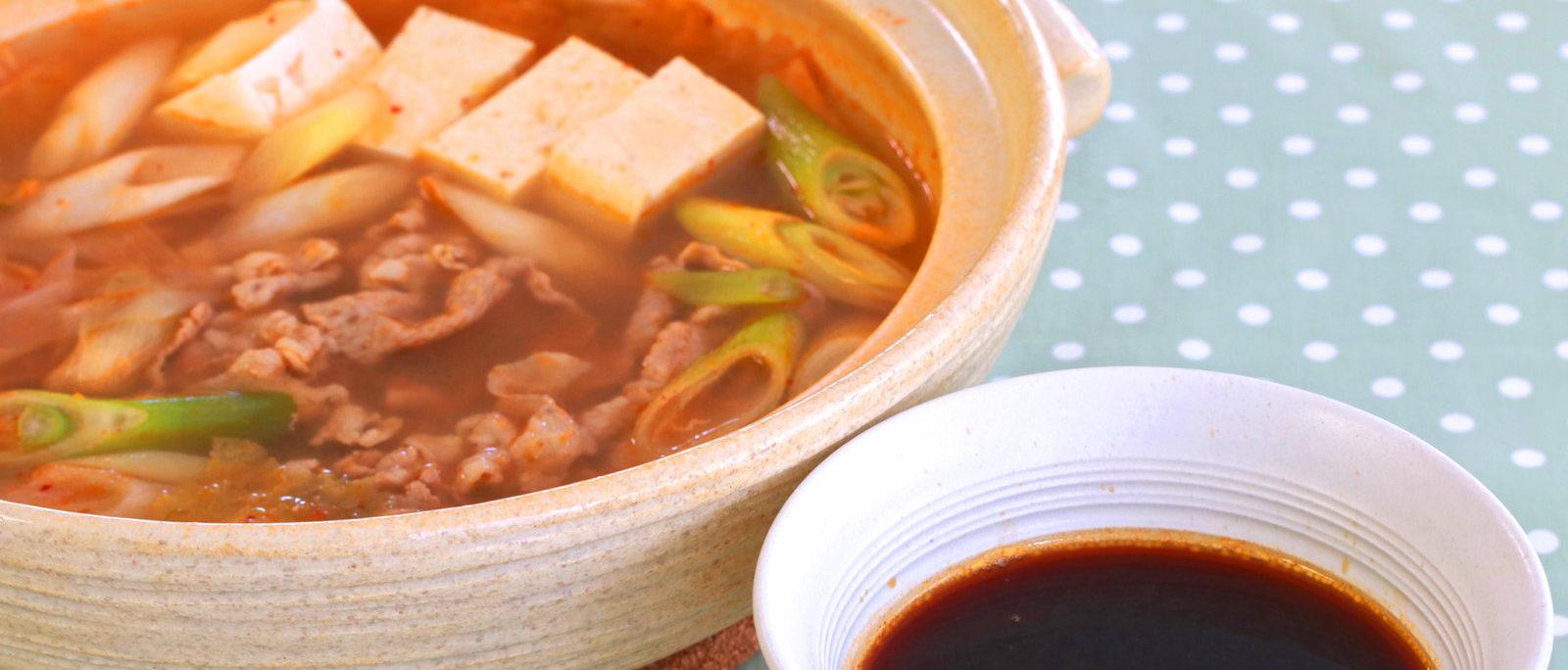 タレで食べるキムチ鍋