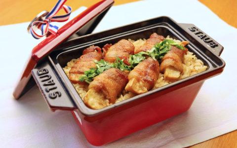 豚バラ肉ロール焼き炊き込み御飯甘酢あん掛け